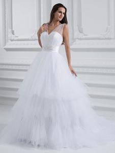 Vestido de noiva decote V linha-A em tule com várias camadas com cauda e cinto de enfeite