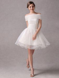 Короткие IvoryStrapless-Line бисероплетение свадебное платье для невесты Milanoo