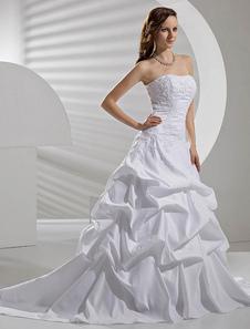 Vestido de noiva Branco Taffeta Dropped Cintura Ruched Sem alças Lace Applique Beading Cauda da Quadra Para Casamento