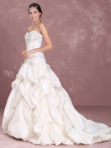 Свадебные платья без бретелек бальное платье свадебное платье атласное вышитое вышитое вышитое бисером вышитое талия свадебное платье
