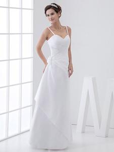Ruched белого шифона свадебное платье