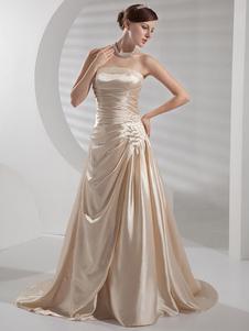 Vestido de novia de satén elástico con escote palabra de honor y adorno arrugado de cola barrida