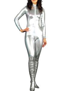 Disfraz Carnaval Barato Halloween CatSuit Plateado Brillante Metálico Bodysuits Halloween Carnaval