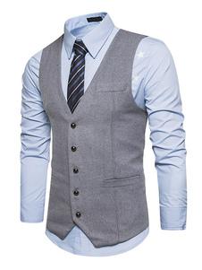 Мужской костюм Vest V Neck Regular Fit Светло-серый жилет