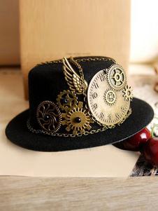 Lolita Vintage sombrero negro Steampunk ala engranaje cadenas Deco Lolita Retro Cap