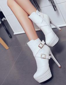 Tornozelo preto botas fivela estilete curto botas de salto alto plataforma botas femininas