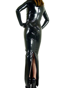 Costume Carnevale Abbigliamento PVC nero lucido per donne con calzamaglia