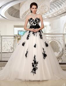 Vestidos de novia sin tirantes negro vestido de novia de encaje apliques flores marco tren de cuentas con cuentas de tul vestido de novia Milanoo