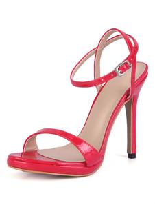 Sandálias cor sólida Salto de PU Sola de Borracha de couro artificial 4.7