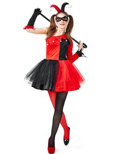 ازياء المرأة الحمراء هارلي كوين أغطية الرأس الركبة عالية الجوارب اللباس هالوين ازياء الأعياد