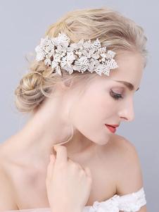 Accesorios para el cabello de metal peine tocado de boda para novia
