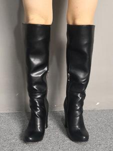 """أحذية عالية الساق واسعة الركبة الأسود كعب مكتنزة 3.5 """"أحذية طول الركبة للمرأة"""