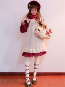 Doce Lolita Encobrir Infanta Boneca Antiga Branco Chiffon Frill Lolita Smock