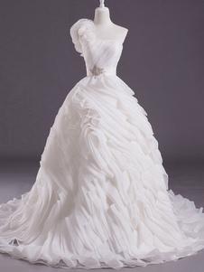 Marfim bola vestido um ombro-flor tribunal trem vestido de casamento