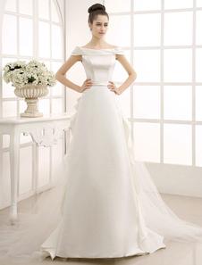 Vestido de casamento nupcial marfim varrer a linha com babados Off-a-ombro Milanoo