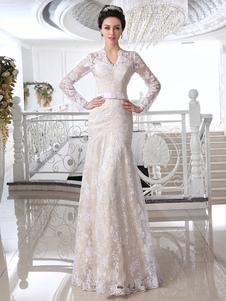 Vestidos de novia de encaje Champagne vestido de novia con cuello en V de manga larga Ilusión vaina Arco Sash piso longitud vestido de novia