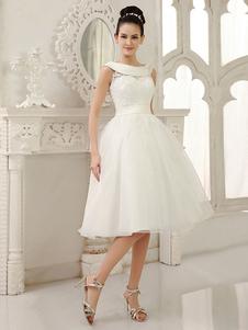 العاج فستان الزفاف الركبة طول قص خارج وشاح فستان الزفاف الدانتيل ميلانو