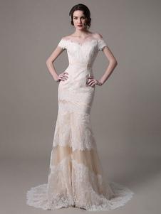 Vestido de novia de encaje con escote de hombros caídos Milanoo