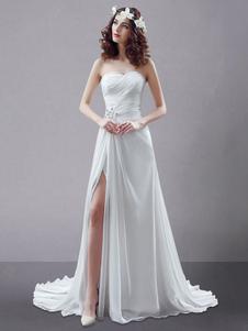 Белое свадебное платье без бретелек витой Сплит горный хрусталь шифон свадебное платье