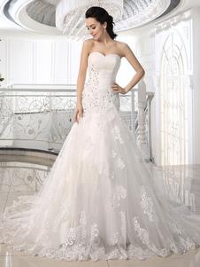 Без бретелек Свадебные платья Русалка Кружева Аппликация Свадебные платья Rhinestones Dropped Waist Court Train Bridal Dress