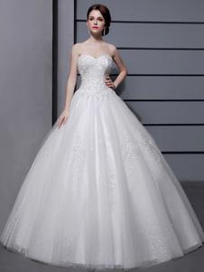 Свадебные платья Бальное платье без бретелек Свадебное платье из слоновой кости Милая декольте Тюль Аппликация Бисерное свадебное платье