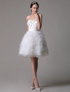 Strapless Sweatheart Satin Short Bridal Gown With Tulle Tired Skirt