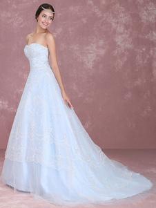 Casamento azul vestido laço querida Tribunal de perolização Strapless trem a linha vestido nupcial Milanoo