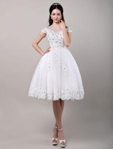 Vestito da sposa champagne in tulle strass con spalle scoperte zip  Milanoo