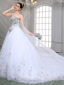 Decote V em coração Com Cauda Com lantejoula De tule Vestido de noiva
