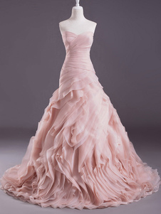 Vestito da sposa roso elegante in organza con scollo a cuore con lo strascico
