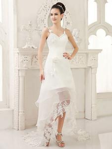 Abito da sposa avorio moderno elegante in organza floreale con scollo a cuore  Milanoo