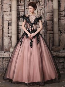 vestidos de gala de tul Rosado Melocotón con escote de hombros caídos sin mangas con pluma de lujo Milanoo