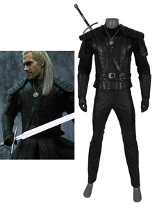 The Witcher Cosplay Geralt of Rivia Black Leather Dress Full Set Costume