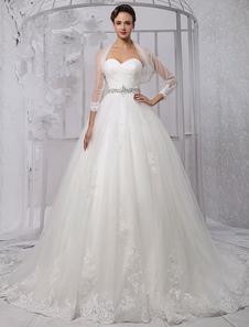 Decote V em coração Com Cauda Com renda De tule Vestido de noiva
