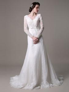 2020 старинные кружева свадебное платье-line с длинными рукавами жемчуг аппликация и часовня поезд