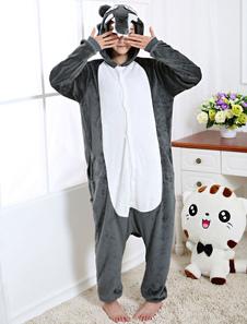 Kigurumi Пижамы Wolf Onesie Глубокий Серый Фланелевые Животные Зимние Пижамы Для Взрослых Унисекс Вернуться С Костюм Молния Хэллоуин