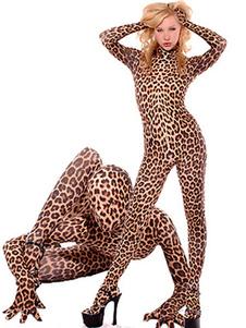Леопард лайкра спандекс костюм Хэллоуин животный комбинезон костюм косплей Хэллоуин