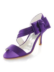 Zapatos de novia de seda y satén 8cm Zapatos de Fiesta Zapatos Morado de tacón de stiletto Zapatos de boda de puntera abierta con lazo