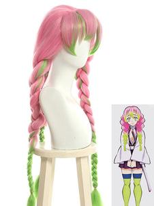Убийца Демонов: Kimetsu No Yaiba Косплей Kanroji Mitsuri Выделение Плетеный парик для косплея
