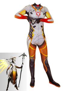 Overwatch Cosplay Disfraces Angela Ziegler Naranja Rojo Lycra Spandex Jumpsuit Juego Leotardo Juego Disfraces Cosplay