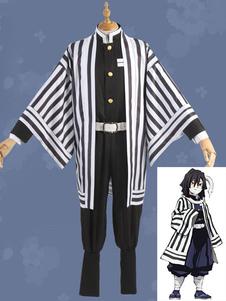 Costume Carnevale Uccisore di demoni del costume cosplay di Iguro Obanai: set cosplay Kimetsu No Yaiba