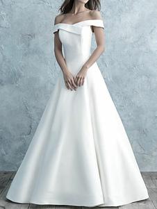 زفاف بسيط اللباس قبالة الكتف الحرير ماتي قصيرة الأكمام أزرار خط أثواب الزفاف