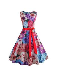 Floral Vintage Vestido de 1950s sin Mangas 2020 Cuello con Joya con Cinturón Vestido de Verano