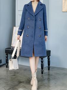 Mulheres casaco de lã Turndown Collar bolsos casaco de inverno azul profundo