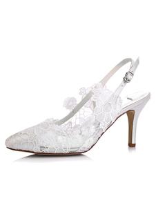 الدانتيل أحذية الزفاف هريرة كعب أشار تو زهرة الحرير أحذية الزفاف