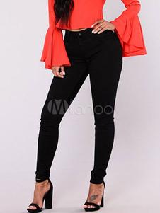 Pantalones vaqueros de tela vaquera negros Color liso cintura alta estilo moderno