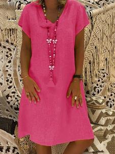 Mulheres Summer Dress Cotton Linen Shift Vestido manga curta V Neck Casual Midi Vestido