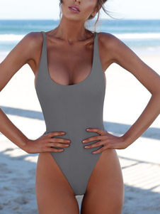 One Piece Swimsuit U Neck Backless High Cut Sexy Bathing Suit