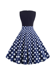 Vestido vintage Poliéster-algodão estampado No Built-in Bra sem mangas Verão shaping clássico decote V com pontos