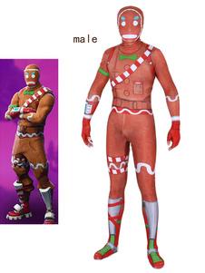 Carnevale Costumi Cosplay Fortnite Oragnge Red Gioco Fortnite Body Body Tuta Merry Marauder Lycra Spandex Gioco per adulti Costumi Cosplay